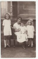 101320 VINTAGE RPPC REAL PHOTO POSTCARD MOTHER WITH THREE CHILDREN ALL IN WHITE