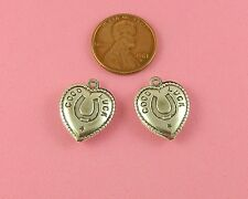 3-D Ant Silver Plated Brass Good Luck Heart Charm - 2 Pc(s)