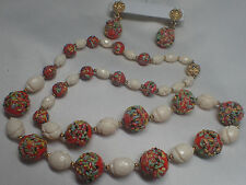 VINTAGE HOBE SIGNED ORANGE CONFETTI GLASS BEADED NECKLACE SET DANGLE EARRINGS