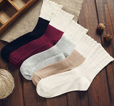 New Arrival 5 Pairs/lot Women Lady Soft Cotton Casual Retro Flanging Crew Socks