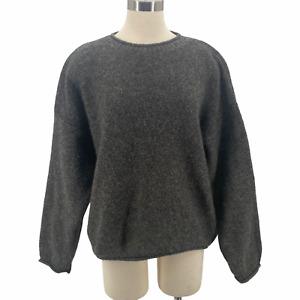 Woolrich Crop Sweater Wool Blend Marled Gray Brown Boxy Shetland Women's Size L