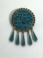 Vintage Sterling Silver Brooch Turquoise Mexico Needle Dangle Deco Taxco Round