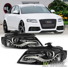 Black 2009-2012 Audi A4 S4 B8 Halogen [RS4 Style] LED DRL Projector Headlights