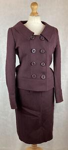 Hobbs Dark Purple Berry 100% Wool Jacket & Skirt 2 Piece Suit UK10/12 104