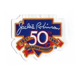 """1997 Jackie Robinson """"Breaking Barriers"""" 50th Anniversary Comm. Sleeve Patch"""
