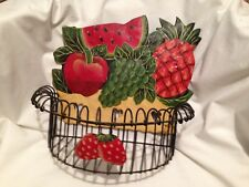 Vintage Metal Fruit Basket Wall Hanger / Mail Holder / Catch All