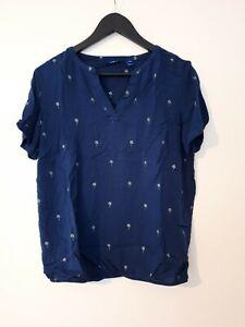 Damen Bluse Tom Tailor Shirt Gr 068 34 bis 46 Kurzarm blau gemustert