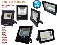 FARO FARETTO LED SLIM SMD WATERPROOF 10 20 30 50 100 150 200W IP65 ESTERNO NERO
