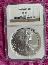 NGC MS69 $1 Silver Eagle Coin - 2009 - Brown Label # 3869389-161