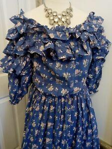 Laura Ashley blue frilly maxi dress - Ditsy Vintage Victoriana 8 10 12