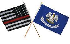 "12x18 12""x18"" Wholesale Combo USA Thin Red Line & State Louisiana Stick Flag"