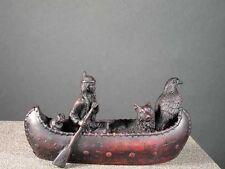 Spirit Canoe Indian Eagle & Wolf Bone Resin Figurine