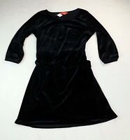 NWT NEW Joe Fresh Black Velour w/ Belt Women Dress Size Medium M Long Sleeve