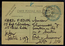 1940 France to Postcard Cover Czech Soldier with French army Postal Sector 2107