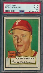 1952 Topps Richie Ashburn #216 HOF Philadelphia Phillies PSA 5.5 EX+
