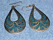 Vintage Alpaca Turquoise Earrings Mexico Handcrafted Earrings