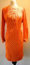 1970 Deadstock New Vintage Canadian Designer Polka Dot Split Front Shift Dress L