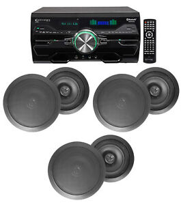 """4000w Home Theater DVD Receiver w/Bluetooth/USB+(5) Black 6.5"""" Ceiling Speakers"""