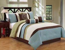 7Pcs Luxury Modern Stripe Bedding Comforter Sets, California King, Sage/Coffee