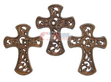 Set of 3 Faith Hope Love Cast Iron Decorative Wall Crosses Inspirational Scrolls