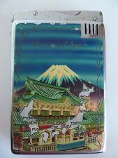 Vintage Memory of Japan Metal Cigarette Case & Lighter w 5 Flints 1950's