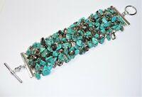 Banana Republic Silver Tone Faux Turquoise Crystal Fashion Bracelet