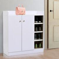 Wood Shoe Cabinet Storage Rack Closet 2 Door 12 Pairs Entryway