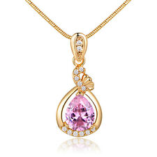 Pear Pink Diamond Yellow Gold Filled Pendant Women Lady Party Banquet Necklace