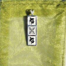 Enamel Turtles / Honu And Quilt Design New Hawaiian Silver Bar Pendant W/ Black