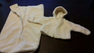 HOLIDAY TIME ! Infants 0-6 Mo. Hand Made Faux Fur Hoody Jacket w Matching Buntin