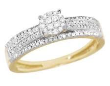 Ladies 10K Yellow Gold Genuine Diamond Cluster Engagement Ring 2/5 Ct 5MM