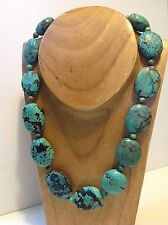 Antique Chinese raw natural Turquoise beads necklace original tribal (m1494)