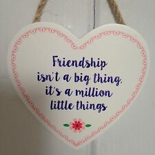 Shabby Chic Decorative Hanging Wooden Friendship Heart