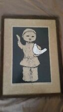 Vintage Y. Murakami 1963 Signed/Numbered Woodblock Print Child And Bird Framed