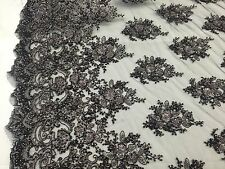 Plum / Multicolor Gleaming Design Embroider And Heavy Beading On A mesh Lace -yd
