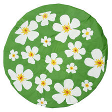 (#04) Duschhaube Grün Blumen-Motiv Haarschutz Badehaube Haube Dusche Kappe Baden