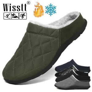 Men Fur Slippers Winter Antiskid House Slippers Slides Mule Indoor Outdoors Home