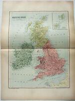 Original 1895 Map of British Isles & Ireland by  W & A.K. Johnston. Antique