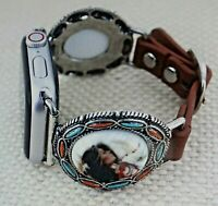 Western Apple Watch  Band detailed  AMERICAN native girl FAUX LEATHER BAND