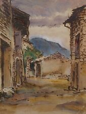 Jan Altink 1885-1971 mixed media,water paint, and wax paint,cityscape