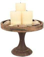 """Candle Centerpiece Holder Table 9"""" Rustic Wooden Pedestal Tray Home Decorative"""