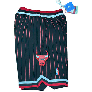 Chicago Bulls Retro Black w/ Red Pinstripe NBA Basketball Shorts - Adidas NWT