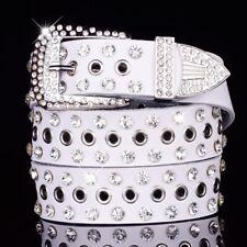 Western Rhinestone Cowgirl Studded Crystal Black Leather Belt Pin Buckle