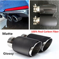 1x100% Real Carbon Fiber Glossy/Matte Car MODIFIDE MUFFLER Pipe Exhaust Tip 63MM