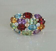 Multi-Gemstone / Diamond Ring Set In 10kt Yellow Gold Size 7