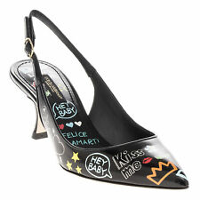 cac0ecf7 Dolce & Gabbana Women's Glossy Printed Graffiti Slingbacks Shoes Black