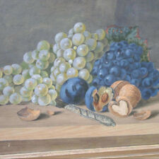 Biedermeier Maler -  STILLEBEN Obst Nüsse & Trauben bunch of grapes still life !