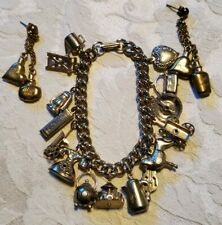 Vintage Goldtone 14 Charm Bracelet & Earrings Movables Heart Carousel Poodle
