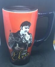 """ELVIS PRESLEY Coffee Mug - """"The King of Rock and Roll"""" Travel Cup"""