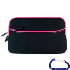 "Zipper Sleeve Cover Case for Chromo Inc 4gb 7"" Android Tablet - Black Pink Trim"